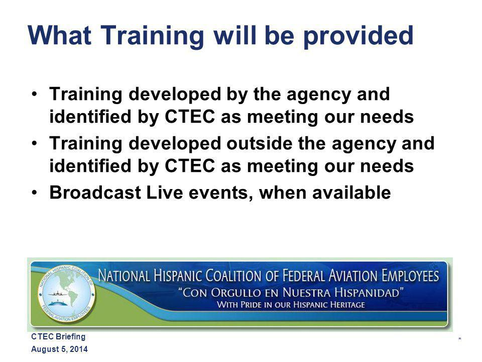 * August 5, 2014 CTEC Briefing How Will Training be Delivered Webinar/Podcasts PowerPoint Videos from NHCFAE website, when available YouTube FAA eLMS Other web access
