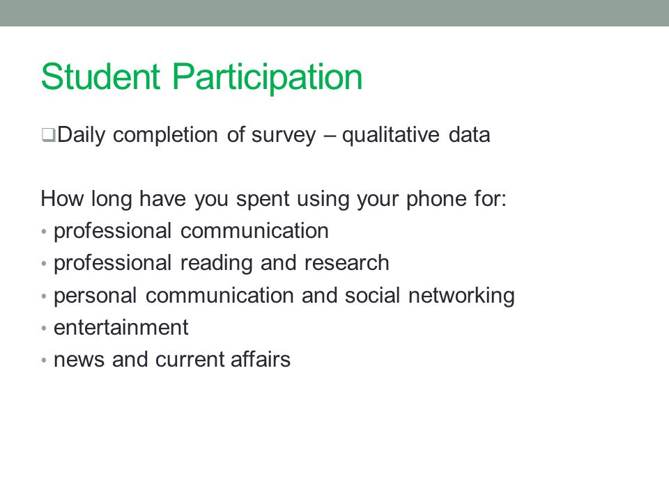 Student Participation  Daily completion of survey – qualitative data How long have you spent using your phone for: professional communication professional reading and research personal communication and social networking entertainment news and current affairs