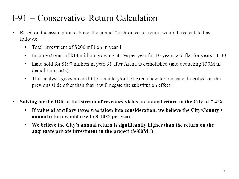 I-91 Compliance – Approach Excluding All Taxes Even though we would completely disagree with this approach, as we believe new tax revenue to the City that would not exist were it not for the Arena, NBA, and NHL should count in the cash on cash return calculation, the conditions of I-91 would still be met Same methodology, but only includes rent and additional rent of $7 million (City's year 1 rent assumption) per year for 30 years Excludes all tax revenue – Tax revenue directly attributable to the Arena and revenue from ancillary spending Inputs would be as follows: Total investment of $200M in year 1 Income stream of $7M in rent and additional rent which is flat for 30 years Land sold for $197M in year 31 after Arena is demolished (and accounting for $30M in demolition costs) Solving for the IRR of this stream of revenues yields an annual return of 3.4%, which is 25% higher than the current U.S.