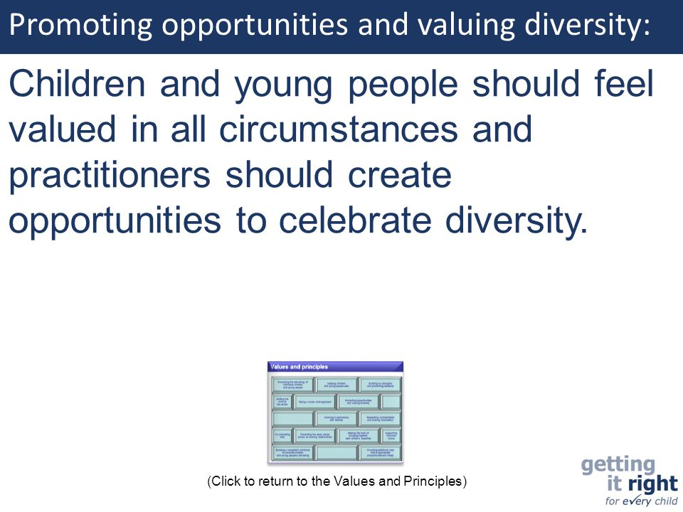 Promoting opportunities and valuing diversity: Children and young people should feel valued in all circumstances and practitioners should create oppor
