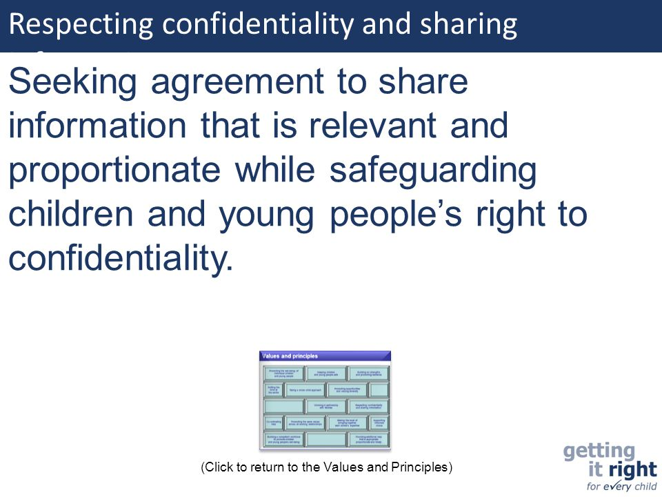 Respecting confidentiality and sharing information: Seeking agreement to share information that is relevant and proportionate while safeguarding child