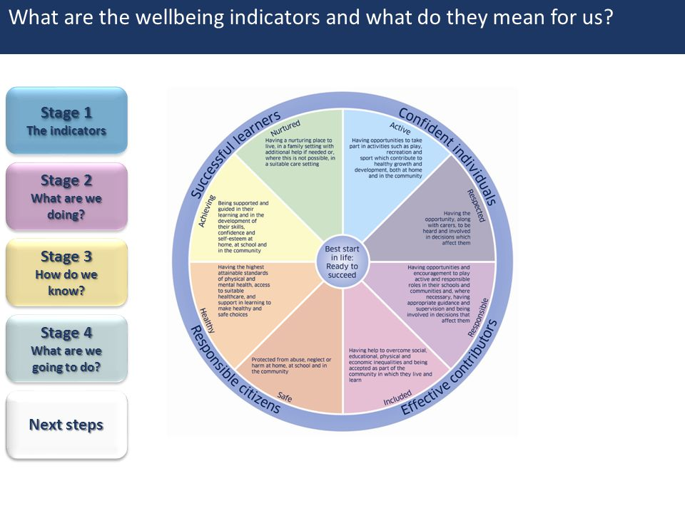 What are the wellbeing indicators and what do they mean for us? Stage 4 Stage 4 What are we going to do? What are we going to do? Stage 4 Stage 4 What