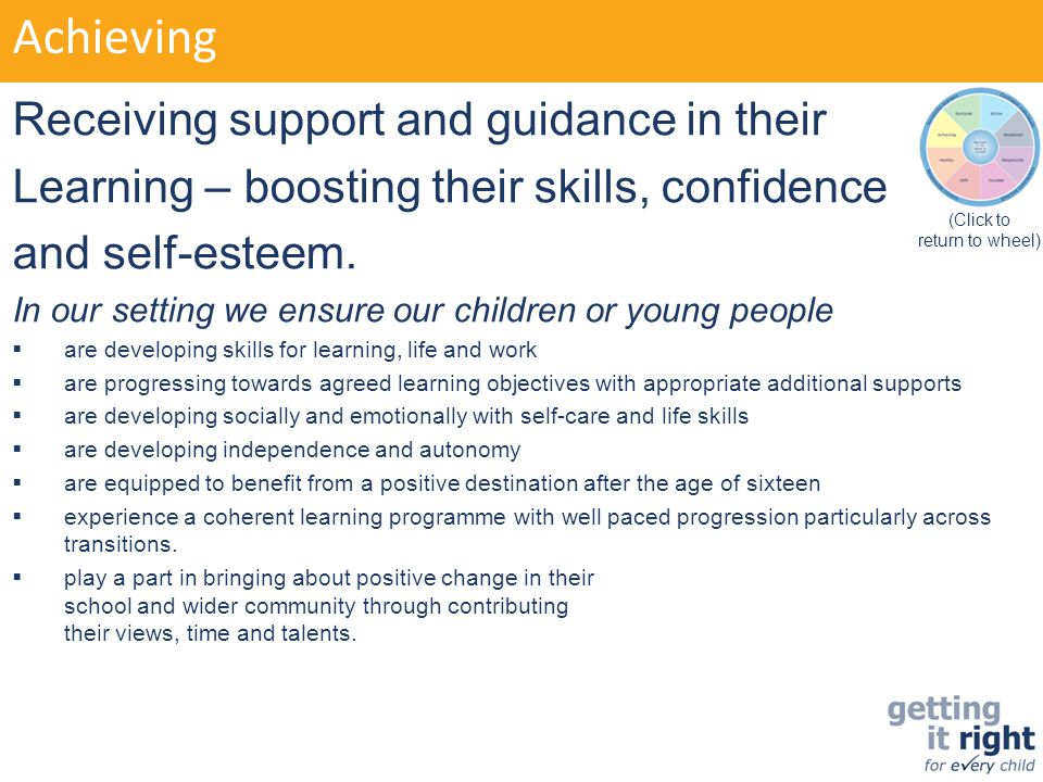 Achieving Receiving support and guidance in their Learning – boosting their skills, confidence and self-esteem. In our setting we ensure our children