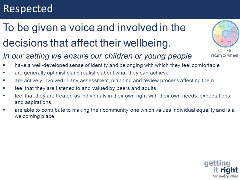 Respected To be given a voice and involved in the decisions that affect their wellbeing. In our setting we ensure our children or young people  have