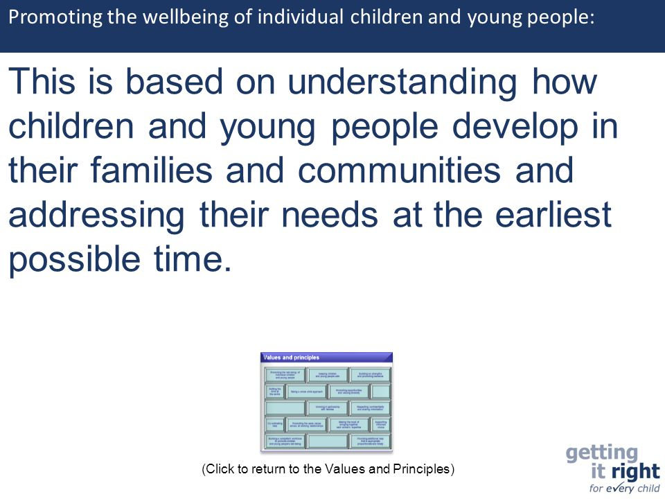 Promoting the wellbeing of individual children and young people: This is based on understanding how children and young people develop in their familie