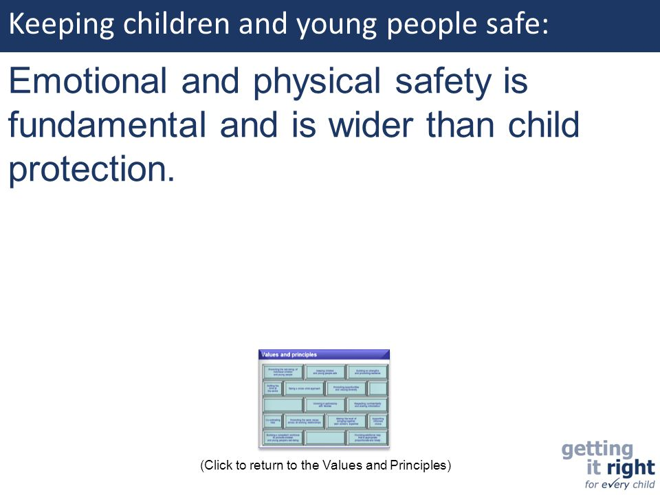 Keeping children and young people safe: Emotional and physical safety is fundamental and is wider than child protection. (Click to return to the Value