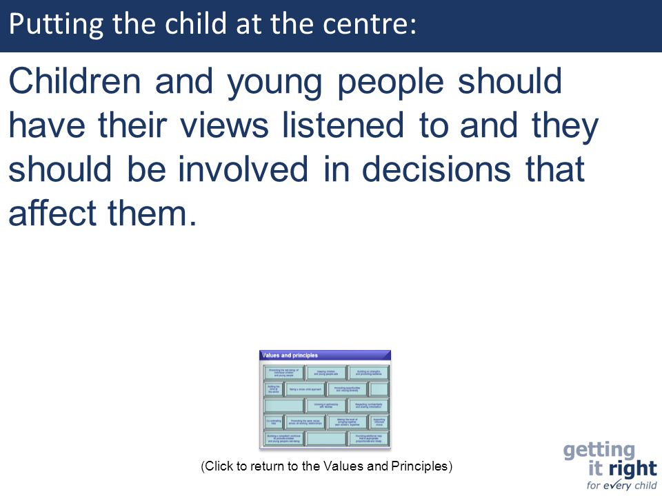 Putting the child at the centre: Children and young people should have their views listened to and they should be involved in decisions that affect th