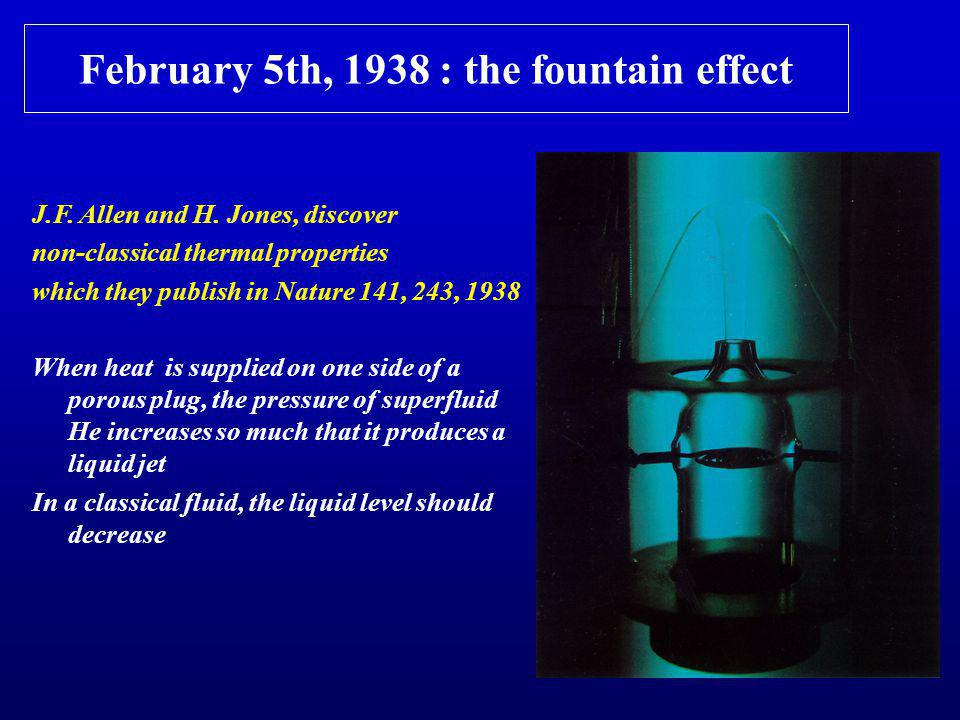 February 5th, 1938 : the fountain effect J.F. Allen and H.