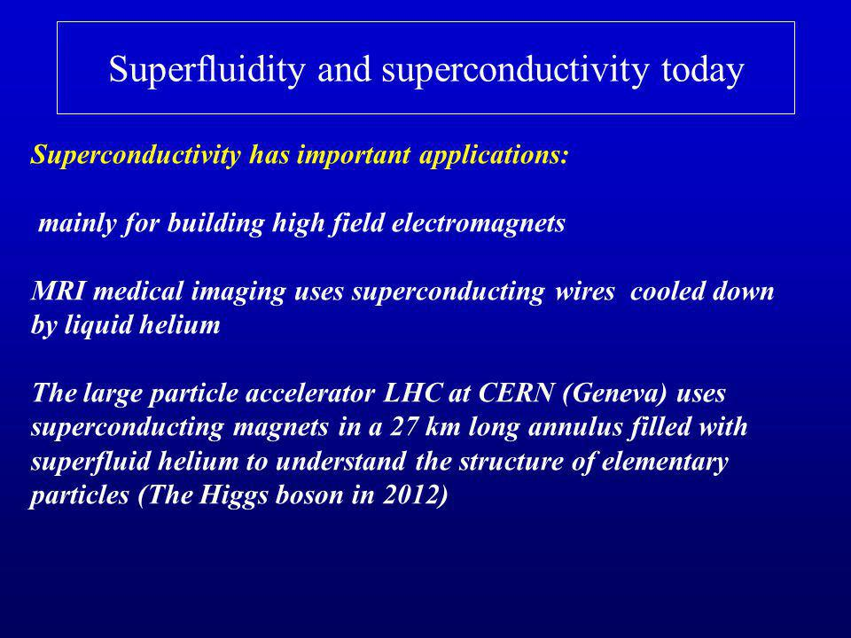 Superfluidity and superconductivity today Superconductivity has important applications: mainly for building high field electromagnets MRI medical imaging uses superconducting wires cooled down by liquid helium The large particle accelerator LHC at CERN (Geneva) uses superconducting magnets in a 27 km long annulus filled with superfluid helium to understand the structure of elementary particles (The Higgs boson in 2012)