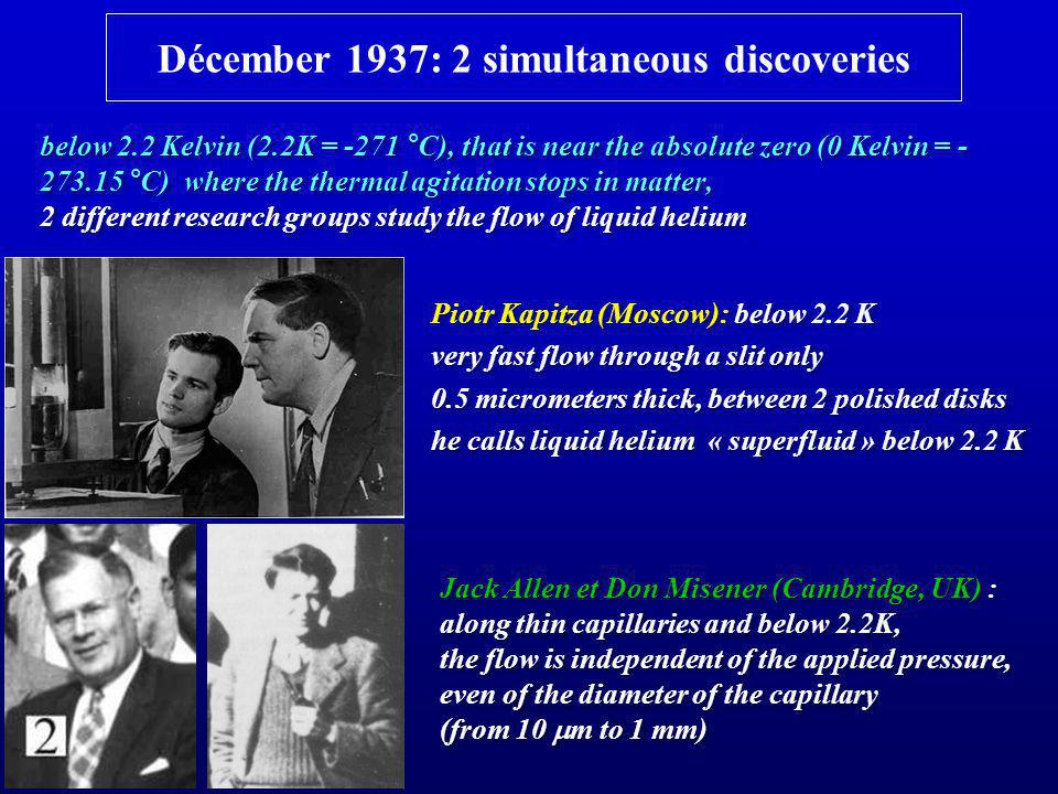 Décember 1937: 2 simultaneous discoveries Jack Allen et Don Misener (Cambridge, UK) : along thin capillaries and below 2.2K, the flow is independent o