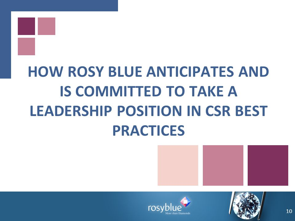 HOW ROSY BLUE ANTICIPATES AND IS COMMITTED TO TAKE A LEADERSHIP POSITION IN CSR BEST PRACTICES 10