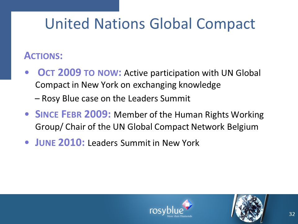 A CTIONS : O CT 2009 TO NOW : Active participation with UN Global Compact in New York on exchanging knowledge – Rosy Blue case on the Leaders Summit S
