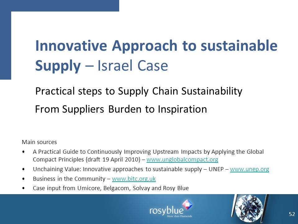 Innovative Approach to sustainable Supply – Israel Case Practical steps to Supply Chain Sustainability From Suppliers Burden to Inspiration 52 Main so