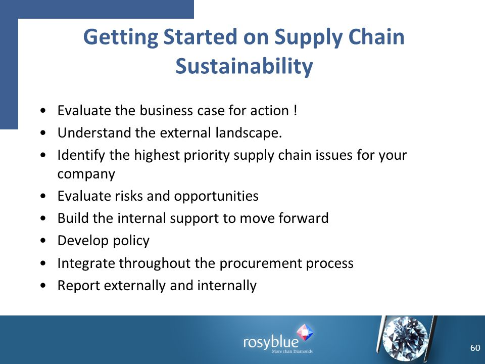 Evaluate the business case for action ! Understand the external landscape. Identify the highest priority supply chain issues for your company Evaluate