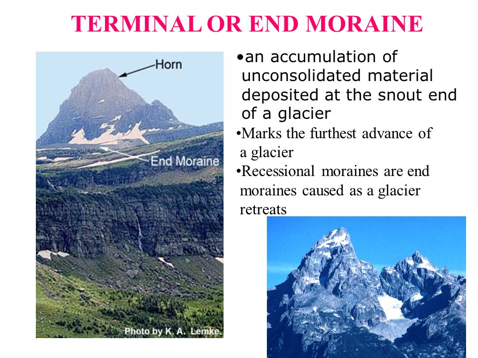 an accumulation of unconsolidated material deposited at the snout end of a glacier Marks the furthest advance of a glacier Recessional moraines are en