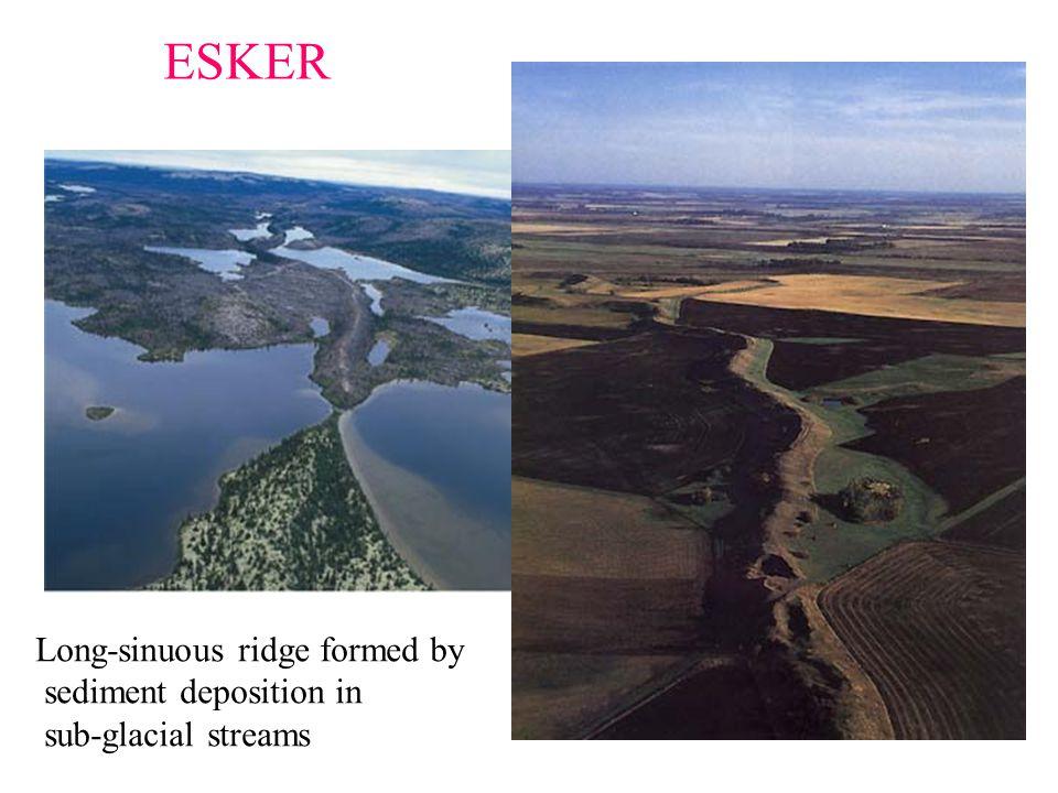 ESKER Long-sinuous ridge formed by sediment deposition in sub-glacial streams
