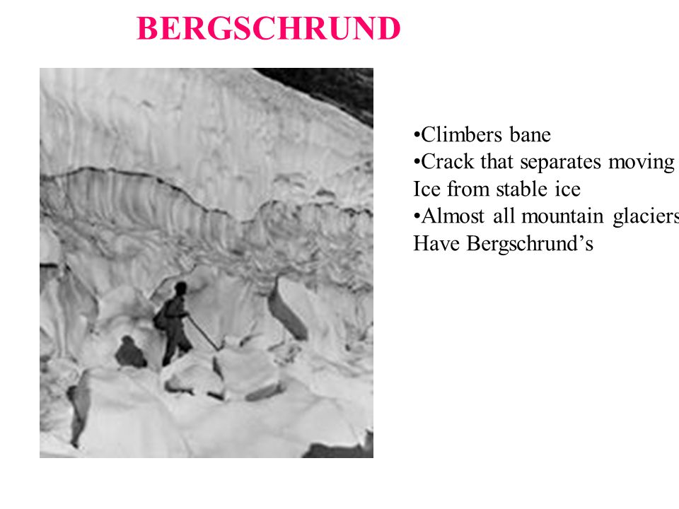 BERGSCHRUND Climbers bane Crack that separates moving Ice from stable ice Almost all mountain glaciers Have Bergschrund's