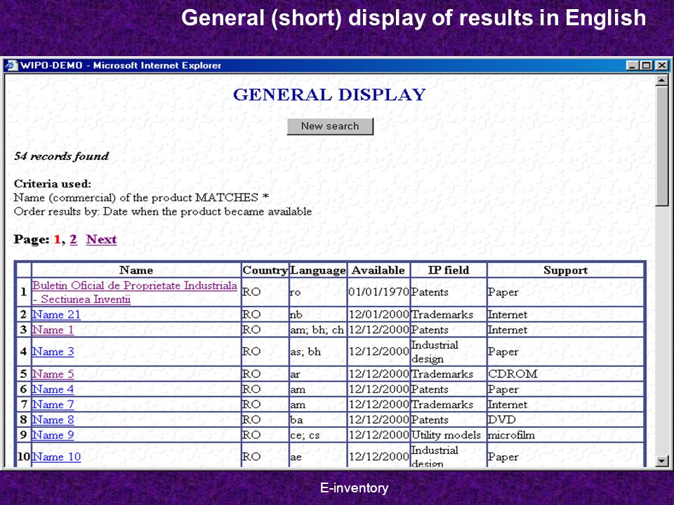 E-inventory General (short) display of results in English