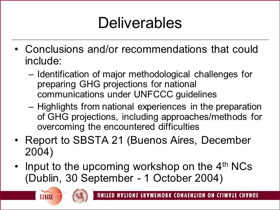 Deliverables Conclusions and/or recommendations that could include: –Identification of major methodological challenges for preparing GHG projections for national communications under UNFCCC guidelines –Highlights from national experiences in the preparation of GHG projections, including approaches/methods for overcoming the encountered difficulties Report to SBSTA 21 (Buenos Aires, December 2004) Input to the upcoming workshop on the 4 th NCs (Dublin, 30 September - 1 October 2004)