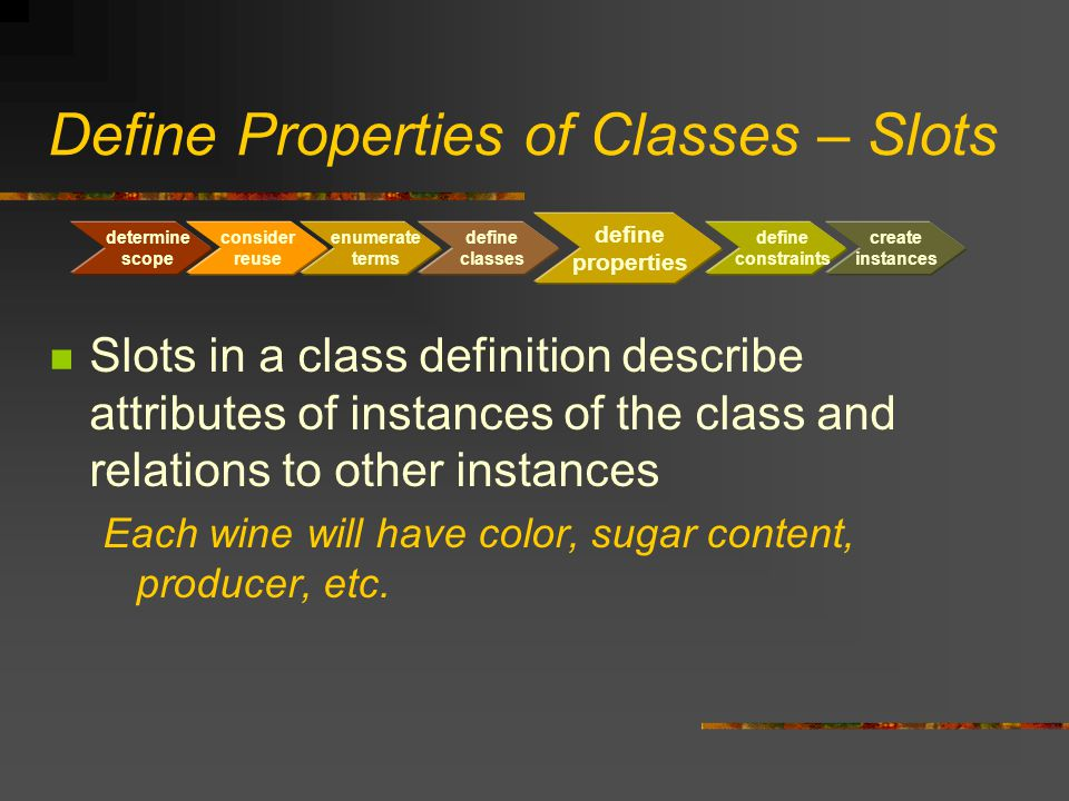 Define Properties of Classes – Slots Slots in a class definition describe attributes of instances of the class and relations to other instances Each w