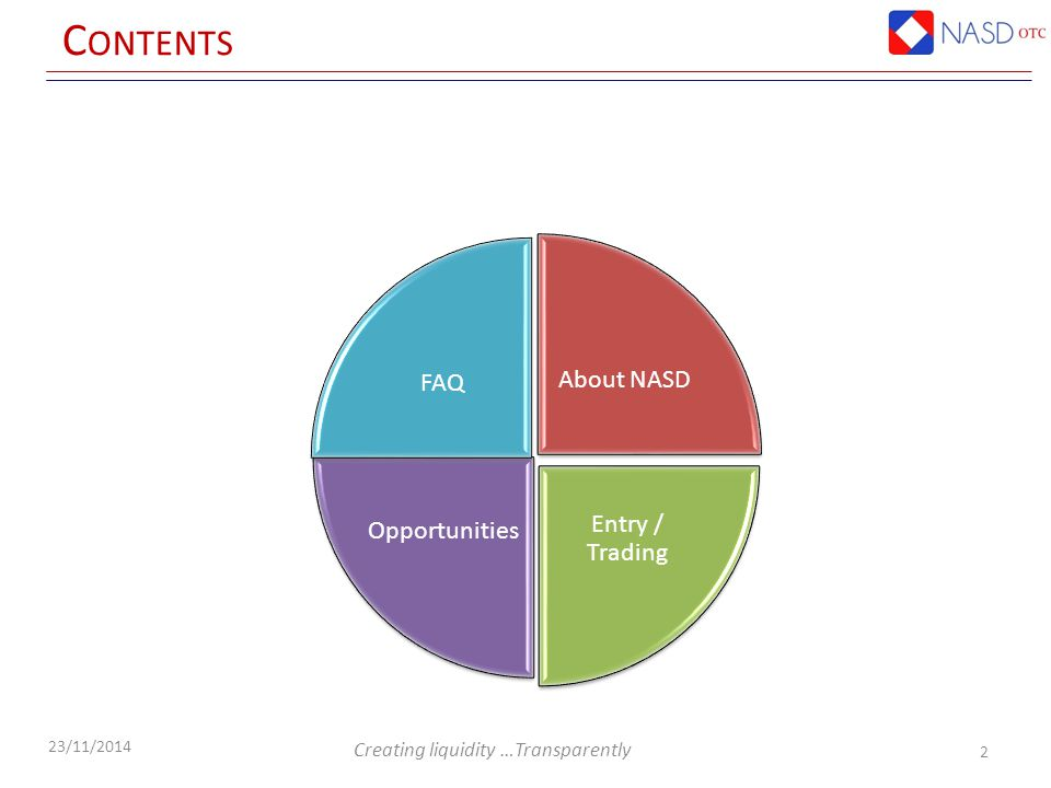 Creating liquidity …Transparently 23/11/2014 C ONTENTS About NASD Entry / Trading Opportunities FAQ 2