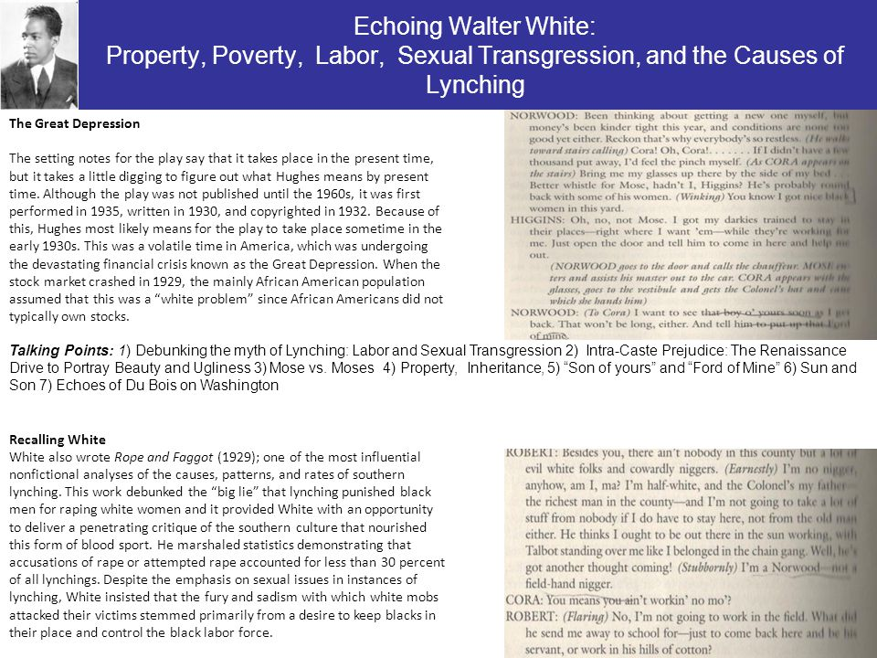 Echoing Walter White: Property, Poverty, Labor, Sexual Transgression, and the Causes of Lynching The Great Depression The setting notes for the play s