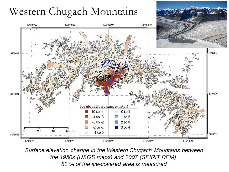 Western Chugach Mountains Surface elevation change in the Western Chugach Mountains between the 1950s (USGS maps) and 2007 (SPIRIT DEM).