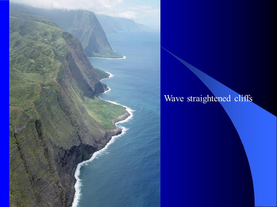 Wave straightened cliffs
