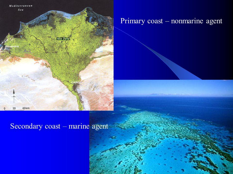 Primary coast – nonmarine agent Secondary coast – marine agent