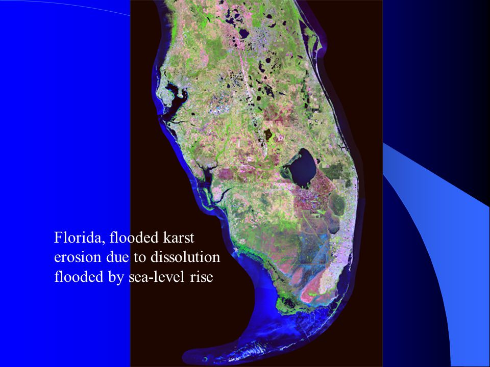 Florida, flooded karst erosion due to dissolution flooded by sea-level rise