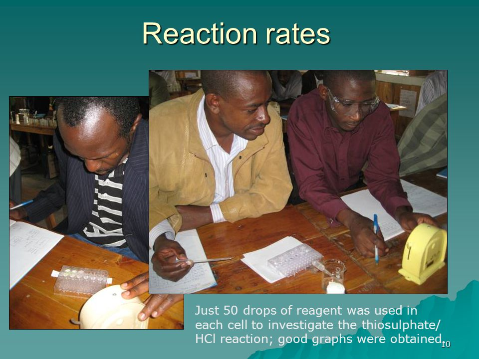 10 Reaction rates Just 50 drops of reagent was used in each cell to investigate the thiosulphate/ HCl reaction; good graphs were obtained.