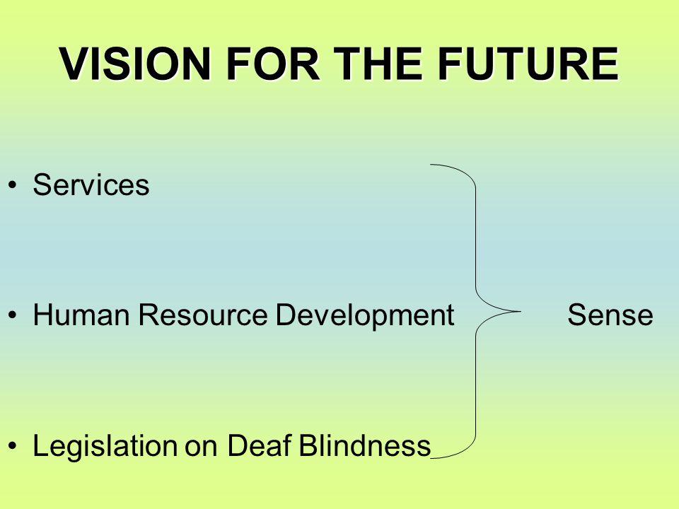 VISION FOR THE FUTURE Services Human Resource Development Sense Legislation on Deaf Blindness