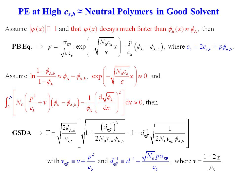 PE at High c s,b ≈ Neutral Polymers in Good Solvent