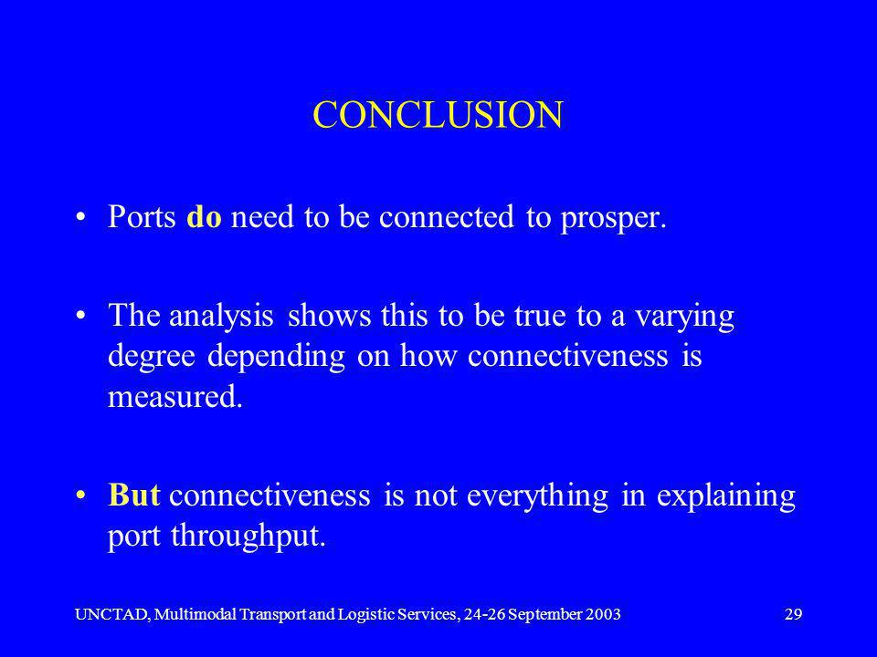 UNCTAD, Multimodal Transport and Logistic Services, 24-26 September 200329 CONCLUSION Ports do need to be connected to prosper.