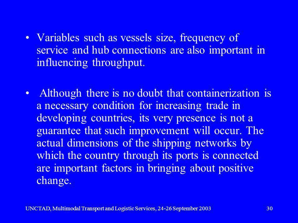 UNCTAD, Multimodal Transport and Logistic Services, 24-26 September 200330 Variables such as vessels size, frequency of service and hub connections are also important in influencing throughput.