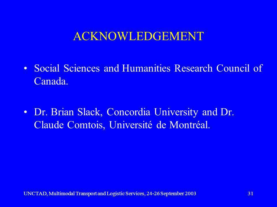UNCTAD, Multimodal Transport and Logistic Services, 24-26 September 200331 ACKNOWLEDGEMENT Social Sciences and Humanities Research Council of Canada.