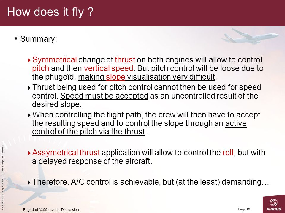 © AIRBUS S.A.S. All rights reserved. Confidential and proprietary document. Baghdad A300 Incident Discussion Page 16 How does it fly ? Summary:  Symm
