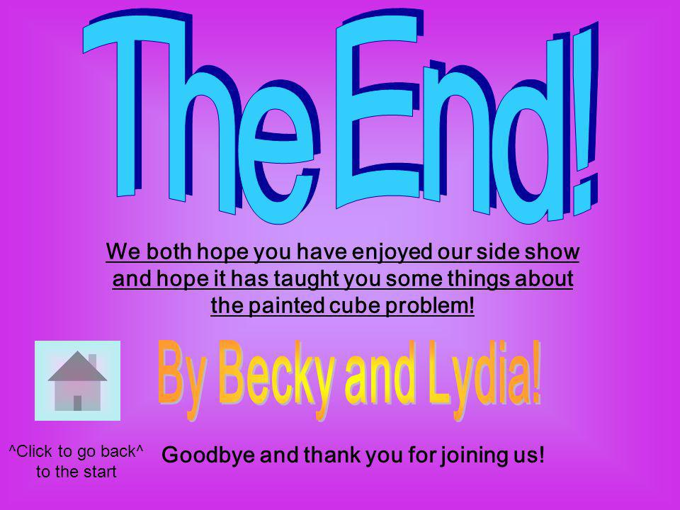 We both hope you have enjoyed our side show and hope it has taught you some things about the painted cube problem.