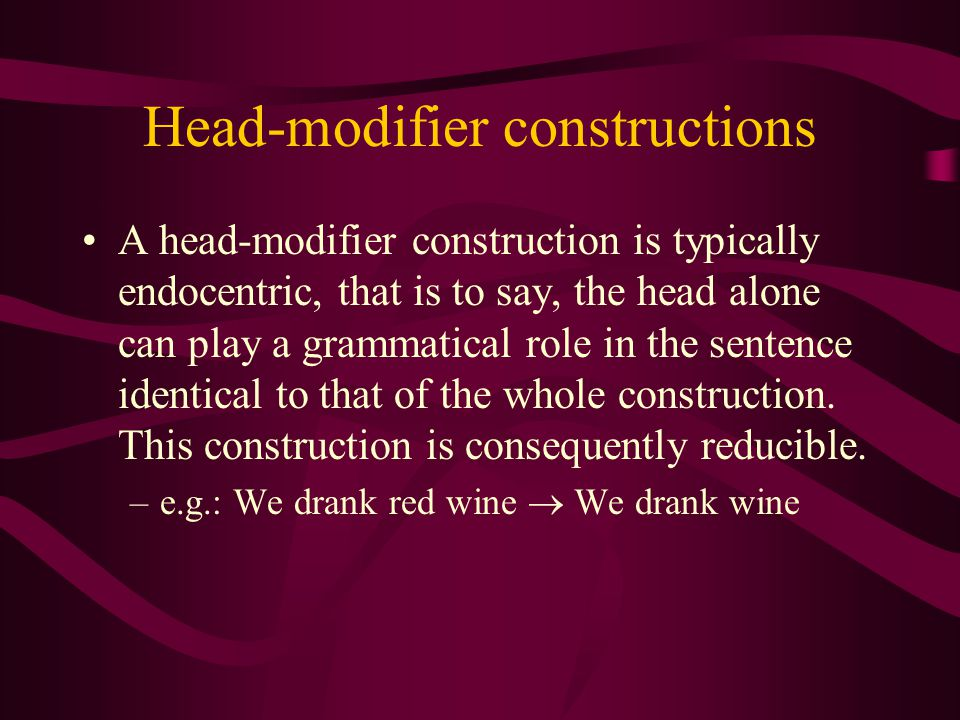 The Semantic Head An element which interacts directly with an element or elements outside the construction. –e.g.: Extremely fast cars crash violently