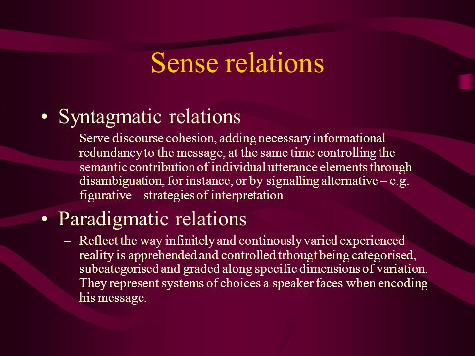 Lexical semantics By D.A. Cruse Chapter 4 Introducing lexical relations