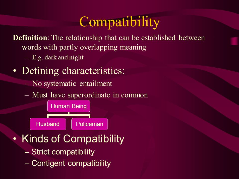 Compatibility Definition: The relationship that can be established between words with partly overlapping meaning –E.g.