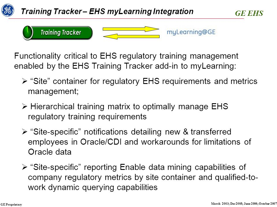 GE EHS GE Proprietary March 2003; Dec 2005; June 2006; October 2007 Training Tracker – EHS myLearning Integration Functionality critical to EHS regulatory training management enabled by the EHS Training Tracker add-in to myLearning:  Site container for regulatory EHS requirements and metrics management;  Hierarchical training matrix to optimally manage EHS regulatory training requirements  Site-specific notifications detailing new & transferred employees in Oracle/CDI and workarounds for limitations of Oracle data  Site-specific reporting Enable data mining capabilities of company regulatory metrics by site container and qualified-to- work dynamic querying capabilities