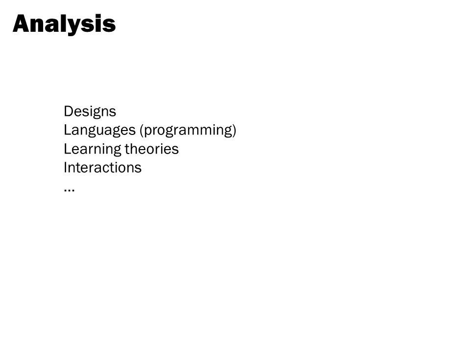 Designs Languages (programming) Learning theories Interactions... Analysis