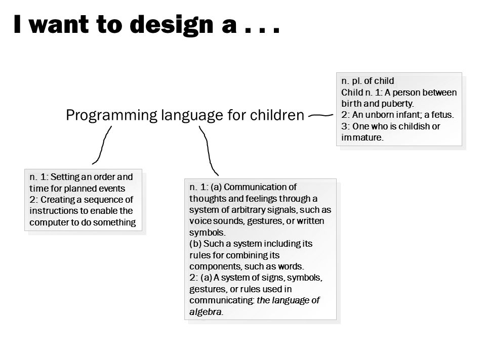 I want to design a... Programming language for children n.