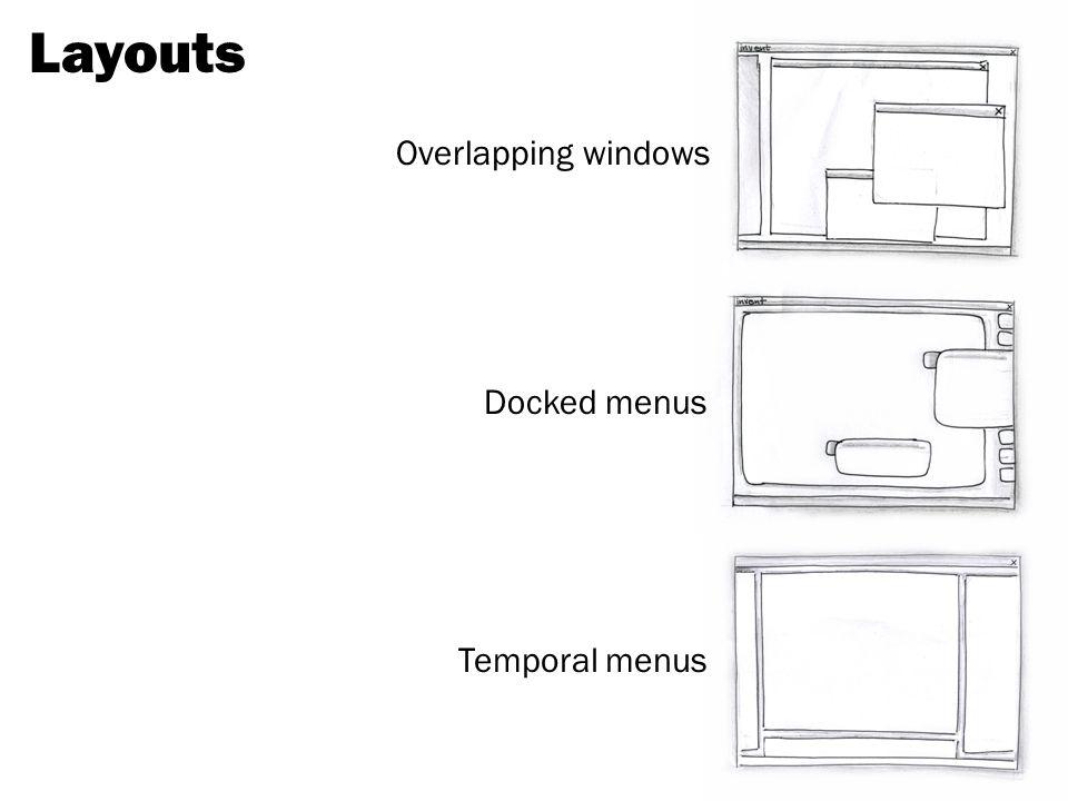 Layouts Overlapping windows Docked menus Temporal menus