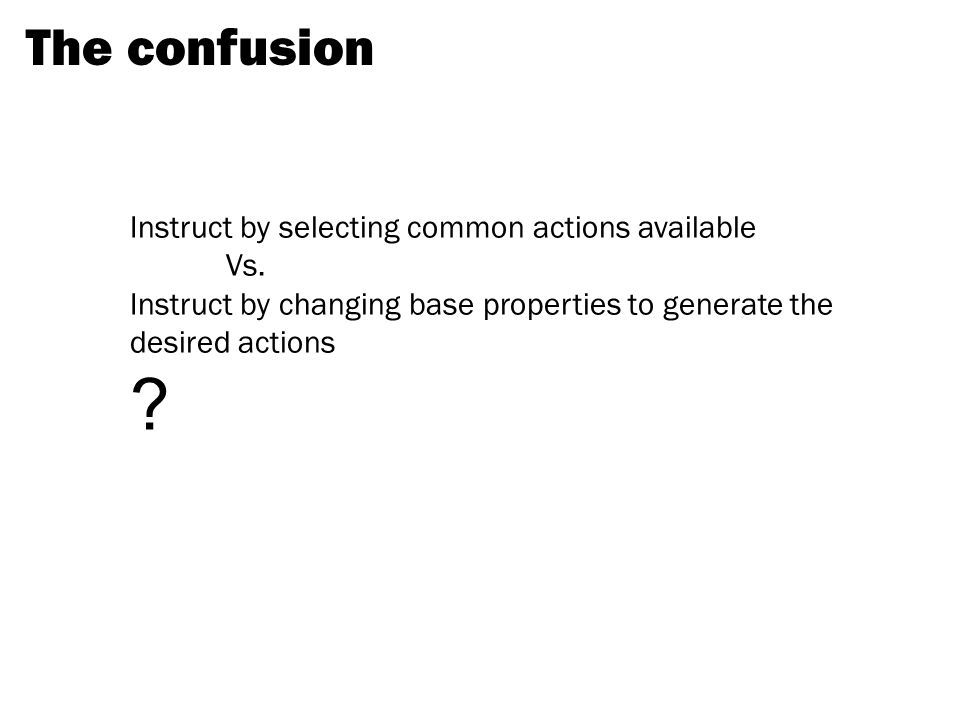 The confusion Instruct by selecting common actions available Vs.
