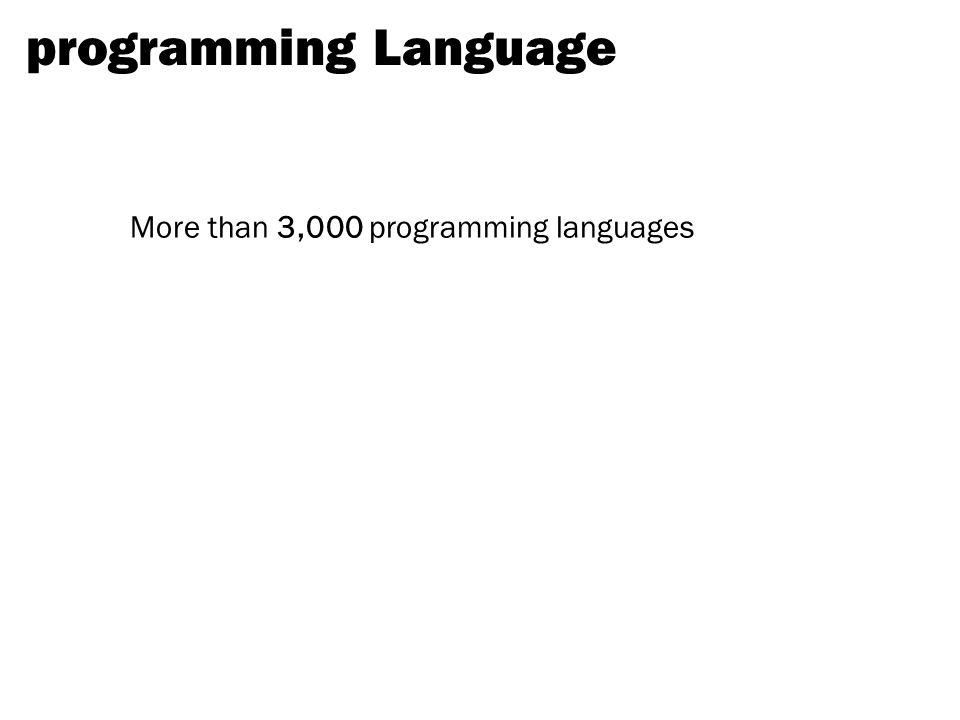 programming Language More than 3,000 programming languages