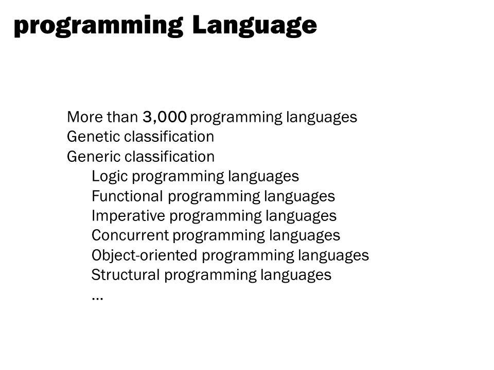programming Language More than 3,000 programming languages Genetic classification Generic classification Logic programming languages Functional programming languages Imperative programming languages Concurrent programming languages Object-oriented programming languages Structural programming languages …