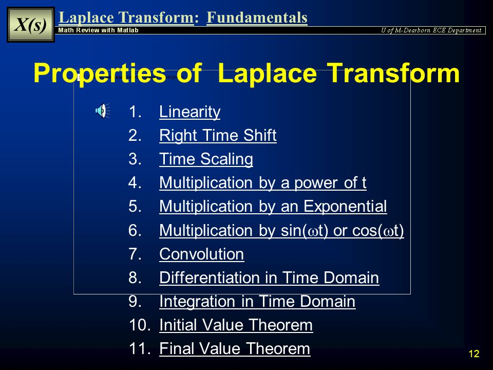 Laplace Transform: X(s) Fundamentals 11 Inverse Laplace Transform  Inverse Laplace Transform is used to compute x(t) from X(s)  The Inverse Laplace Transform is strictly defined as:  Strict computation is complicated and rarely used in engineering  Practically, the Inverse Laplace Transform of a rational function is calculated using a method of table look-up