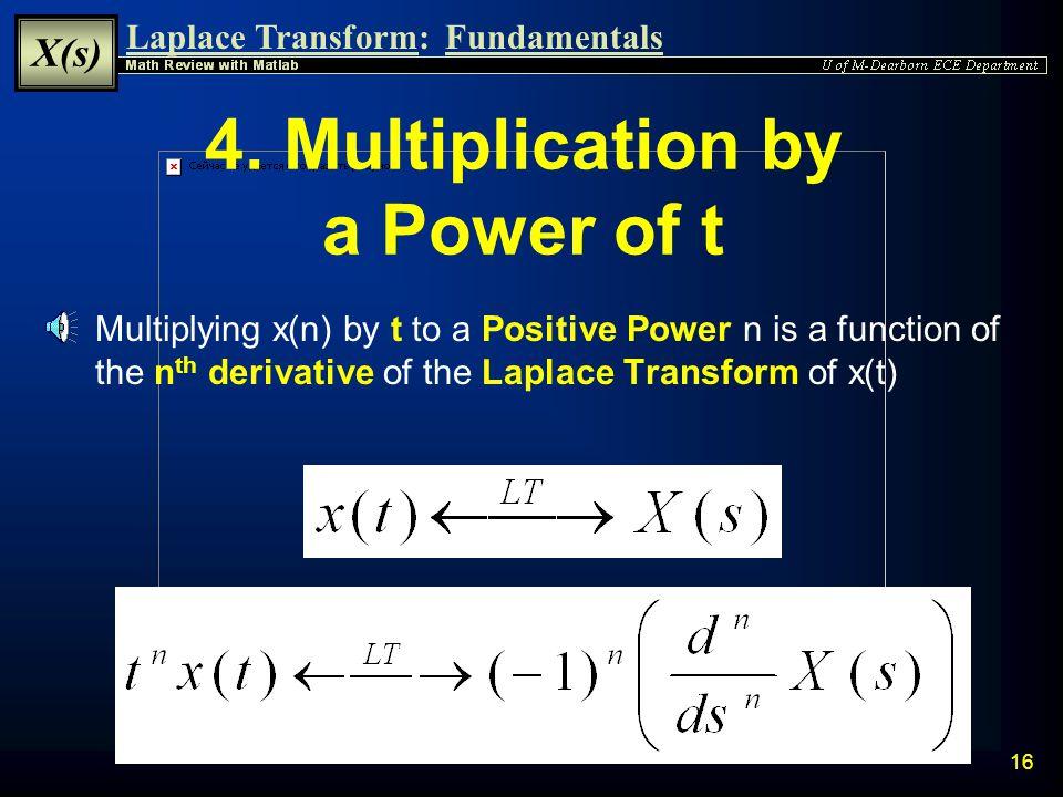 Laplace Transform: X(s) Fundamentals 15 3.